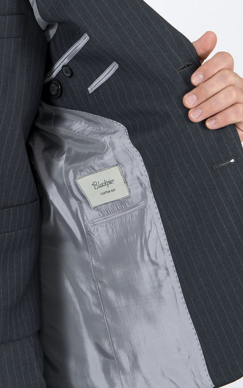 Striped Grey 3 Piece Custom Suit - Inside jacket lining