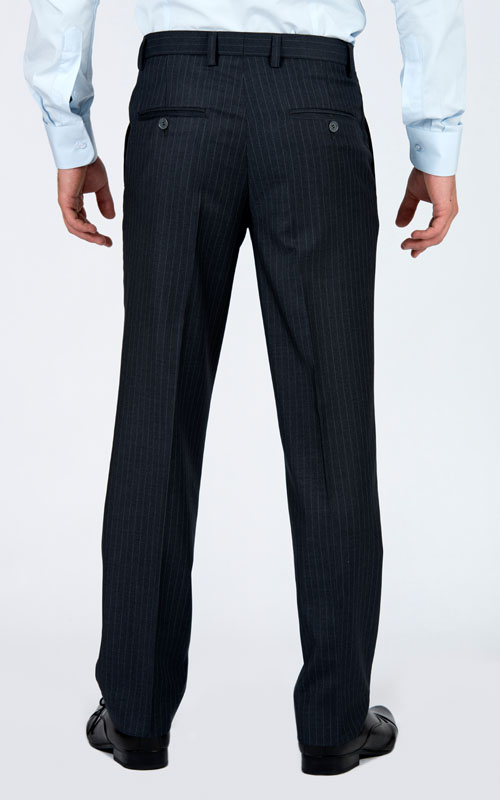 Striped Grey 3 Piece Custom Suit - Back pants