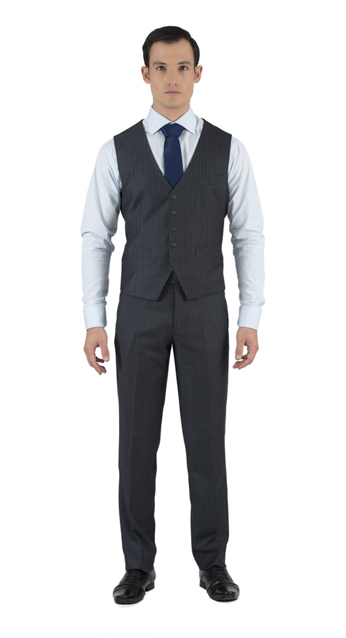 Striped Grey 3 Piece Custom Suit - Fabric