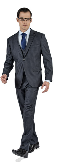 Striped Grey 3 Piece Custom Suit