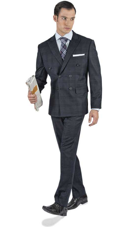 Navy Prince Of Wales Custom Suit - Entire suit