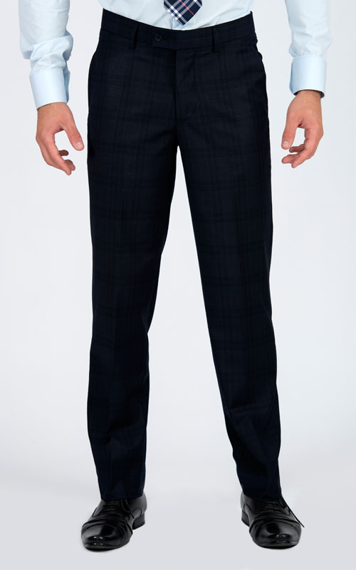 Navy Prince Of Wales Custom Suit - Front pants