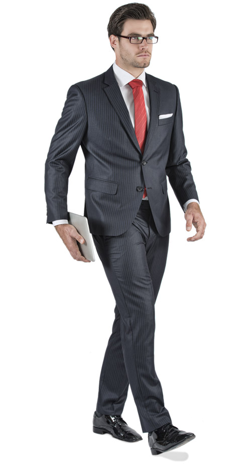 Striped Navy Custom Suit - Entire suit