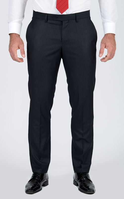 Striped Navy Custom Suit - Front pants