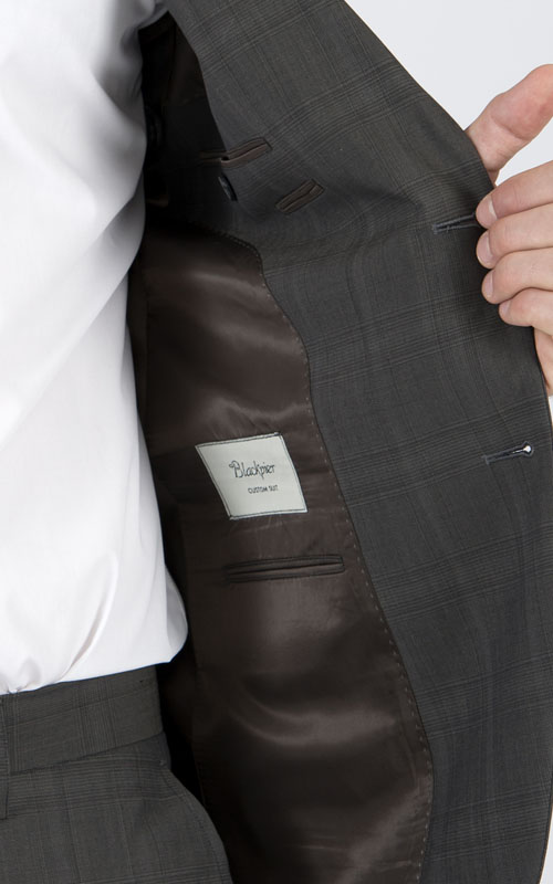 Premium Brown Prince Of Wales Tailored Suit - Inside jacket lining