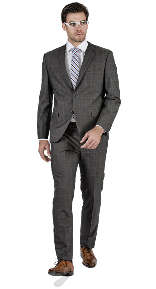 Premium Brown Prince Of Wales Tailored Suit - Entire suit
