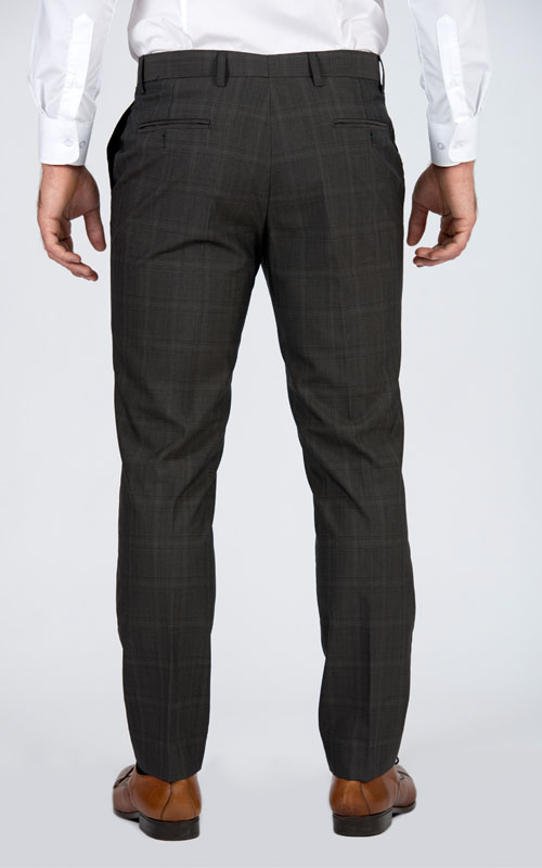 Premium Brown Prince Of Wales Tailored Suit - Back pants
