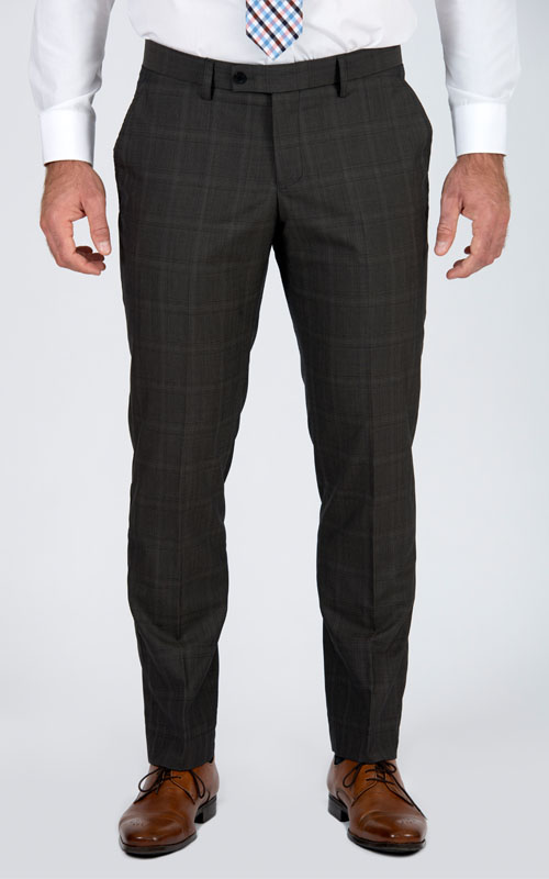 Premium Brown Prince Of Wales Tailored Suit - Front pants