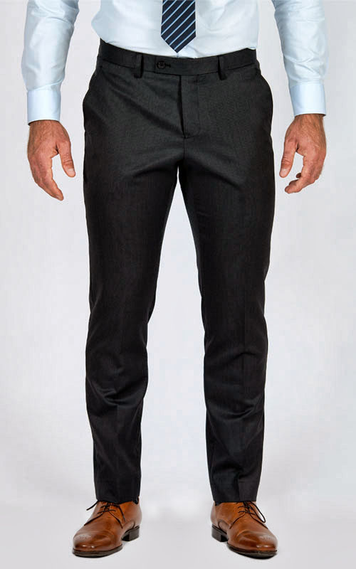 Charcoal Pinstripe Custom Suit - Front pants
