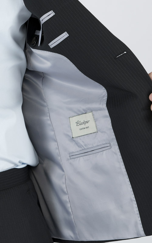 Premium Pinstripe Dark Grey Custom Suit - Inside jacket lining