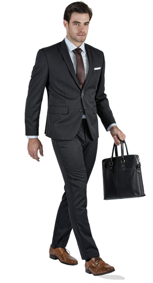 Premium Pinstripe Dark Grey Custom Suit - Entire suit