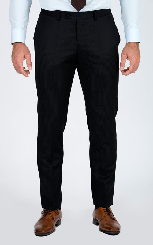 Premium Pinstripe Dark Grey Custom Suit - Front pants
