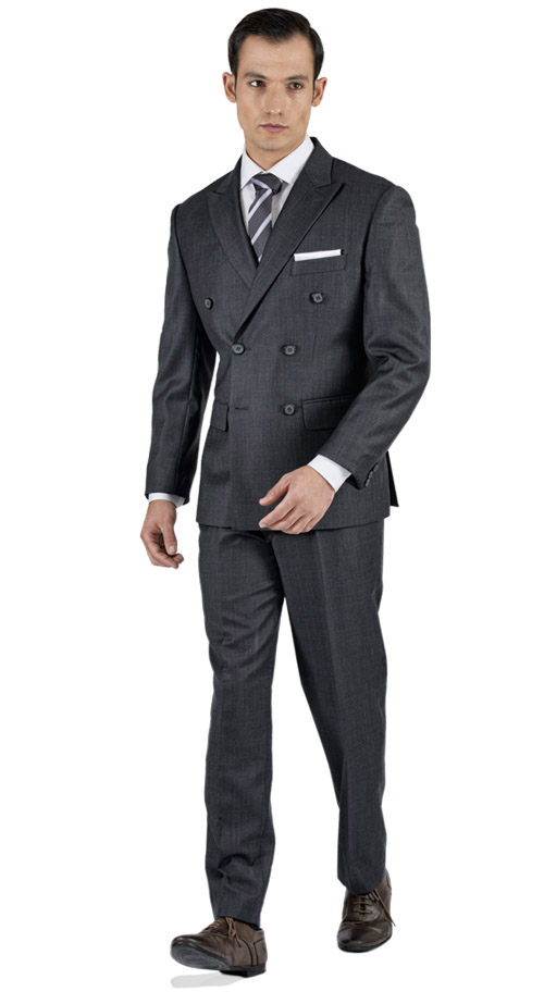 Bird's Eye Grey Custom Suit - Entire suit