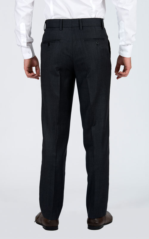 Bird's Eye Grey Custom Suit - Back pants