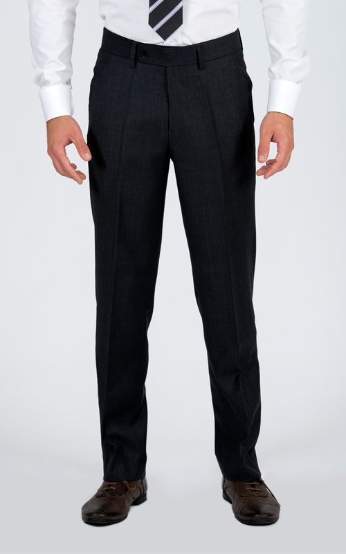 Bird's Eye Grey Custom Suit - Front pants