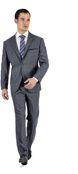 Premium Striped Light Grey Custom Suit