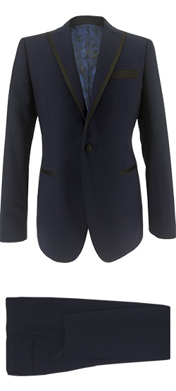 Tailored suit - Tuxedo Suit Solid Dark blue