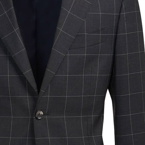 Dark Navy Checked Suit - Inside jacket lining