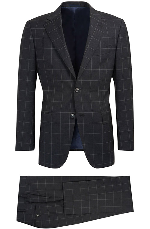 Dark Navy Checked Suit - Entire suit