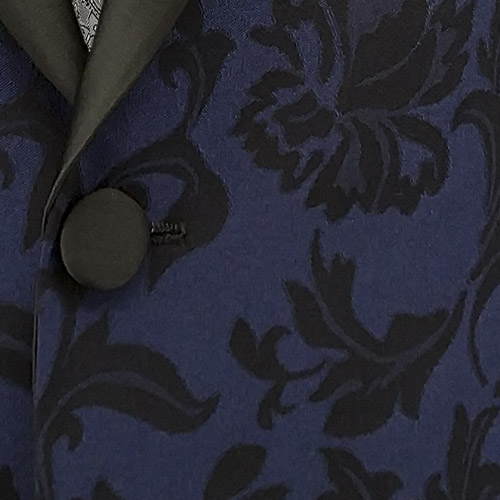 Blue and Black Floral Pattern Tuxedo - Inside jacket lining