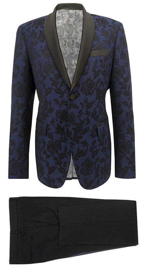 Blue and Black Floral Pattern Tuxedo - Entire suit