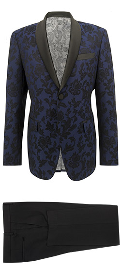 Blue and Black Floral Pattern Tuxedo