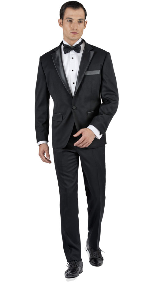 Black Tuxedo 2 Piece Tailored Suit - Back pants