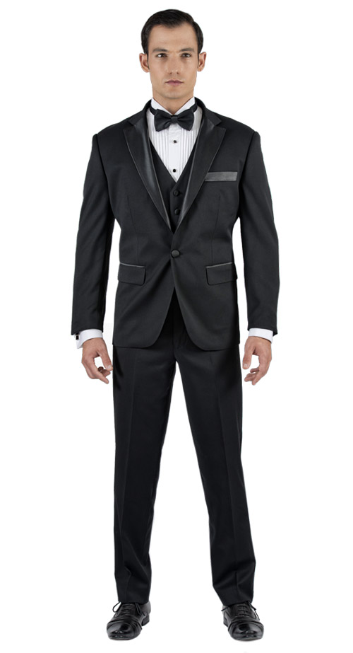 Black Tuxedo 3 Piece Tailored Suit - Back pants