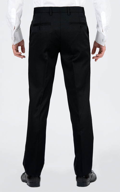 Black Tuxedo 3 Piece Tailored Suit - Front pants
